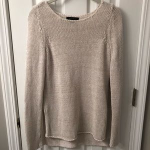Ann Taylor Cream Open Knit Sweater size XXS
